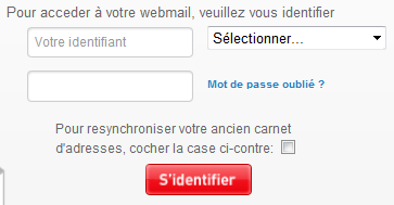 Pour acceder à votre webmail, veuillez vous identifier